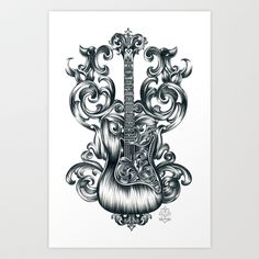 Guitar Wings Drawing Art Print by Jill Sanders Illustration - $16.00