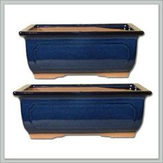 2 Ceramic Bonsai Pots – Japanese Houtoku Brand – Blue 6/7 2 Ceramic Bonsai Pots – Japanese Houtoku Brand – Blue 6/7