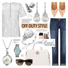 """""""The Pearl Source 77"""" by anyasdesigns ❤ liked on Polyvore featuring DL1961 Premium Denim, Gucci, Salvatore Ferragamo, HUGO, Tory Burch, Laura Mercier, Burberry and Tiffany & Co."""