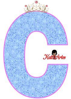 Alfabeto de Corona con Fondo Azul.