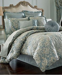J Queen New York Kingsbridge Comforter Sets - Bedding Collections - Bed & Bath - Macy's Bedroom Comforter Sets, Queen Comforter Sets, Ivory Bedding, Teal Bedding Sets, Elegant Comforter Sets, Floral Bedding, Blue Bedroom Decor, Home Bedroom, Cama Vintage