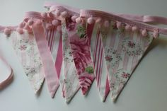 Vintage Style Bunting, Shabby Chic Fabric Banner, Bunting, Birthday Decor, Photo Prop