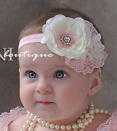 Pink and ivory baby headband shabby chic roses by SAVANIboutique. Darling design and color scheme. Shabby Chic Headbands, Lace Headbands, Baby Girl Headbands, Baby Bows, Headband Bandeau, Diy Headband, Baby Head, Diy Hair Accessories, Girl Hair Bows