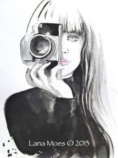 "Fashion illustration Art Print from Original Watercolor "" Nico """