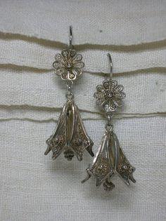 835 Silver Filigree Earrings Ornate Flowers Bells by AuldBaubles