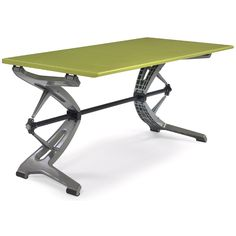 "Herman Miller prototype desk/table, c.1999, showroom pilot production unit from the ""Avio"" series, designed by Lisa Bottom and John Duvivier for use by knowledge workers, height adjusts by hand crank to a height range of 15"" to 45"", top is 58.5"" x 30"", light green painted wood top, aluminum and steel base"