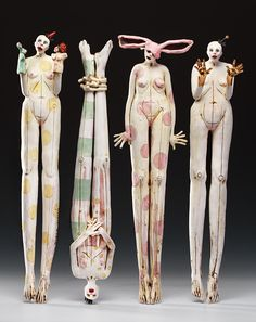 Nancy Kubale....Clean, wonderful Design--Pamela Sculptures Céramiques, Sculpture Clay, Ceramic Figures, Clay Figures, Pottery Art, Ceramic Pottery, Assemblage Art, Creepy Dolls, Paper Clay