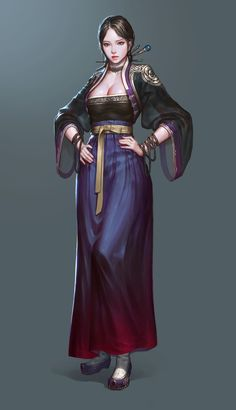 Hanbok concept artwork, JeongSeok Lee on ArtStation at https://www.artstation.com/artwork/4BJq8