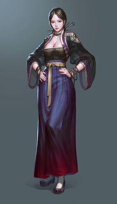 Hanbok concept artwork, JeongSeok Lee on ArtStation at https://www.artstation.com/artwork/4BJq8