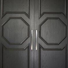 Black Closet Doors, Contemporary, home exterior, Greg Natale Black Entry Doors, Double Doors Exterior, Black Closet, Closet Doors, Regency, Exterior Design, Tall Cabinet Storage, Paint Colors, Home