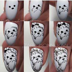 Look at these gel christmas nails Dog Nail Art, Animal Nail Art, Dog Nails, Crazy Nail Designs, Nail Polish Designs, Nail Art Hacks, Nail Art Diy, Christmas Nail Art Designs, Christmas Nails