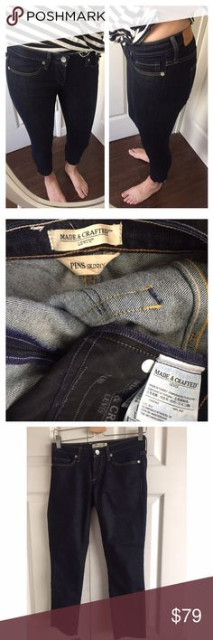"""Levi's Made and Crafted Jeans Style: Pins Skinny. Frayed cropped hem. Dark wash. Unworn condition. Unfortunately too snug on me. 93% Cotton 6% Polyester 1% Elastane. Made in Turkey. 13.5"""" waist 24"""" inseam. Levi's Jeans Skinny"""