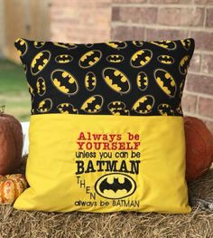 Book Pillow, Reading Pillow, Childrens Gifts, Machine Embroidery, Sewing Crafts, Batman, Cushions, Throw Pillows, Toss Pillows