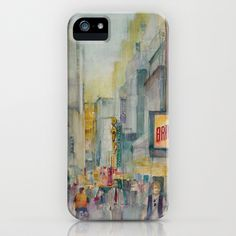 Broadway,  New York iPhone Case by Dorrie Rifkin Watercolors - $35.00