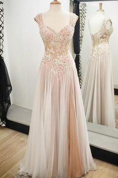 Vintage A-line Prom Dresses with Lace Appliques, Noble Long Prom Dress with Low Back, Cap Sleeve Prom Gowns, #020102138