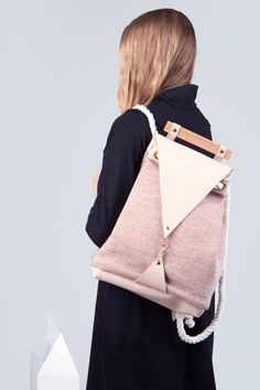 Minimal Nude Backpack Vegan Leather Bag Maple Wood by noemiah