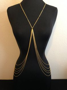 Gold Body Chain Belly Chains Jewelry Harness by VintageMadeByDucky, $21.00
