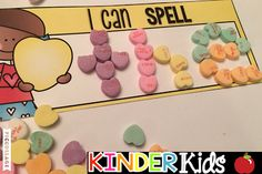 Candy Heart Spelling Mats!  Love this idea for students practicing sight words, spelling words, etc. with candy hearts!