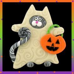 Glow in the Dark Ghost Costume Tabby Kitty Cat Halloween Pin - Regular Light