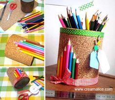 ✄ DIY Pot à Crayons en liège / DIY Cork Pencil Cup ✄ www.creamalice.com