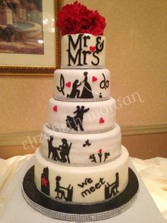 Silhouette wedding cake - This is my mother's wedding cake, it is the story of how she met her husband.  They met at work (Macy's), got to know each other over coffee, took many ballroom dancing lessons, and he proposed to her on Halloween dressed like Prince Charming (she was Snow White) They are in their 70's!