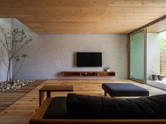 Living Room Tv, Living Room Interior, Home And Living, Japan Interior, New Interior Design, Japanese Modern House, Black Rooms, Minimalist Home Interior, House Rooms