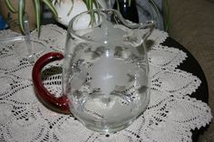 Vintage Clear Glass Pitcher Hand Formed Ice Lip and Red Glass Handle Etched and… Red Glass, Clear Glass, Volume And Capacity, Cabinets For Sale, Glass Pitchers, Vintage Glassware, Friends In Love, Frost, House Warming