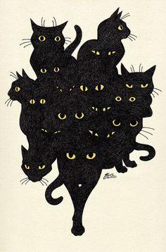 Ideas For Cats Black Illustration Kitty Crazy Cat Lady, Crazy Cats, I Love Cats, Cute Cats, Adorable Kittens, Art Et Illustration, Cat Illustrations, Oeuvre D'art, Cat Art