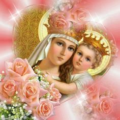 Jesus and St. Blessed Mother Mary, Blessed Virgin Mary, Religious Images, Religious Art, Sainte Therese De Lisieux, Jesus Father, The Joys Of Motherhood, Catholic Bible, Images Of Mary