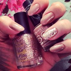 Nude and glitter almond nails