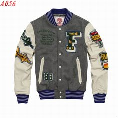 Franklin & Marshall Leather Sleeves letterman Jacket Gray  $92.00