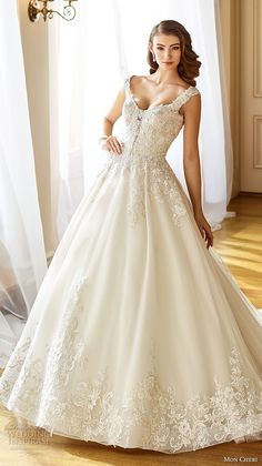 mon cheri fall 2017 bridal cap sleeves sweetheart neckline heavily embellished beaded bodice romantic ball gown a  line wedding dress open back chapel train (202) av -- Mon Cheri Fall 2017 Wedding Dresses #wedding #bridal #weddingdress
