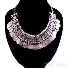 Moda feminina moedas de prata pingente declaração Bib colar gargantilha colares declaração charme quente 027X(China (Mainland))