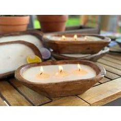 Accent your home with simple touches that can bring out the most in your space. The petite carved bowl candle is filled with 100% soy wax. Place it on a coffee table or vanity and dim the lights to create a peaceful ambience. Each bowl is hand carved and may have variations in color, shape and size. The hand carved bowl is reusable after burning.Made in United States of America Candle Wax, Soy Wax Candles, Scented Candles, Carved Candles, Homemade Candles, Forever Green, Unique Candles, Natural Candles, Project