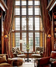 : English country living......LOVE, LOVE, LOVE the floor to ceiling windows!!!!!!!