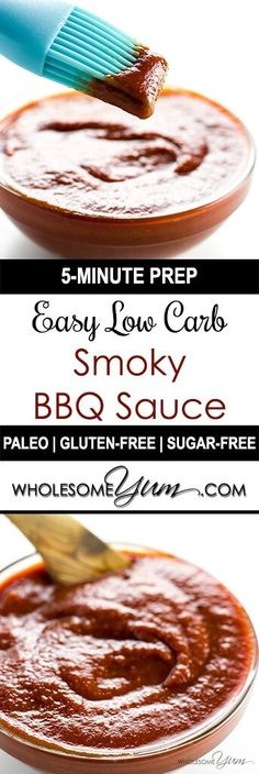 Low Carb BBQ Sauce ( Low Carb BBQ Sauce (Sugar-free Gluten-free) - This sugar-free gluten-free low carb BBQ sauce recipe is sweet smoky spicy & tangy in one. Super easy too with only 5 minutes prep time! Sugar Free Bbq Sauce Recipe, Sugar Free Barbecue Sauce, Keto Bbq Sauce, Keto Sauces, Low Carb Sauces, Gluten Free Bbq Sauce, Bbq Sauces, Barbeque Sauce Recipes, Tangy Bbq Sauce Recipe
