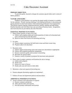 Cake Decorator Resume Stocker Resume Sample Stock Cover Letter Job Description Grocery .