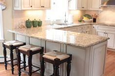 Kitchen, : Delectable Small U Shape Kitchen Decoration With Cream Granite Counter Tops Along With Square Wooden Bar Kitchen Chair And White Wood Kitchen Cabinet