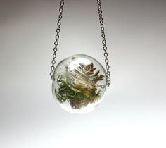 Terrarium necklace.  The user Wearable Planter on Etsy is also nice and similar.