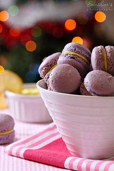 Lavender macarons with lemon cream cheese filling by Irina Kupenska