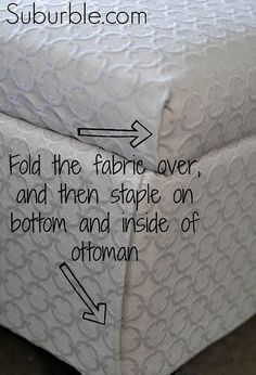 no sew ottoman reupholstering, painted furniture, At the corners instead of sewing fold in the fabric and then staple it into the frame