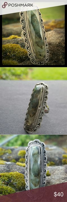Laborardite ring in a vintage setting 3 inches of beautiful labradorite and 925 sterling silver Robin's Nest Jewels  Jewelry Rings