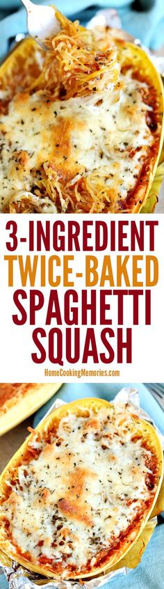 This Twice-Baked Spaghetti Squash recipe is an easy dinner idea that only needs spaghetti squash, mozzarella cheese, and your favorite pasta sauce. dinner spaghetti squash Easy Twice-Baked Spaghetti Squash Weight Watcher Desserts, Low Carb Recipes, Cooking Recipes, Healthy Recipes, Delicious Recipes, Simple Recipes, Vegetable Recipes, Vegetarian Recipes, Vegetarian Cooking