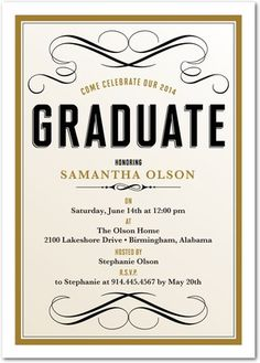 Flourished Fete - #Graduation Invitations - Southern Living Magazine - Umber Brown #grad