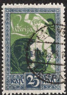 "Latvia  1919-20 Scott 65 25k indigo & yellow green ""Warrior Slaying Dragon"""