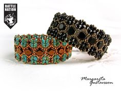"""Margareta Gustafsson: """"Here are my bracelets with Honeycombs, Miniduos, O beads and seed beads. I just finished the black one using the strand of Jet Matte Honeycombs from my Goodie Bag at Beadalong :-) """""""