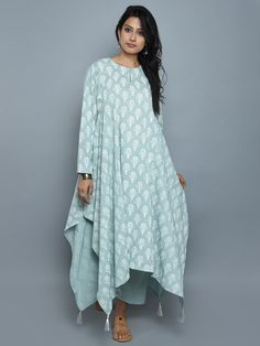 Jade Green Cotton Block Printed Asymmetrical Kurta and Pants - Set of 2