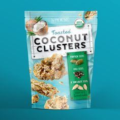 """Toasted coconut mixed with chia, pumpkin and sunflower seeds is not your  typical snack. So why design a typical package? Instead, we got to the  essence of Toasted Coconut Clusters, looking at not only visuals, but the  overall form factor of the product for inspiration."