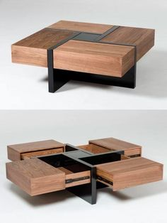 coffee table design 51 Coffee Tables With Storage To Stylishly Stash Your Clutter Coffee Table Design, Modern Square Coffee Table, Diy Coffee Table, Coffee Table With Storage, Square Tables, Coffee Coffee, Wood Table Design, Wooden Coffee Tables, Coffee Cake
