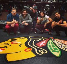 MAGIC! made a trip to the #Blackhawks locker room.